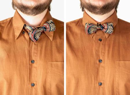 arbitrario: Pajarita colorida con camisa marrón primer plano. Foto de archivo