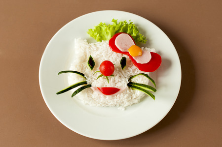breakfast plate: Childrens meal with rice on white plate. Stock Photo