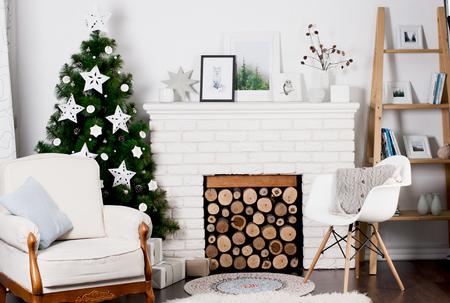 cosily: Christmas interior with Christmas tree Stock Photo