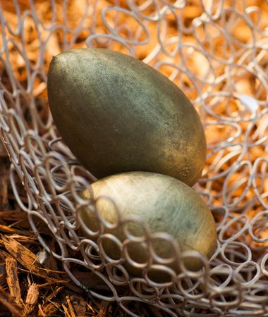 colour in: huevo de madera pintada de color oro en la cesta
