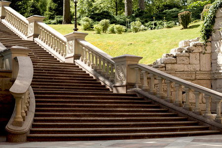 Stone staircase with balustrades in park Stock Photo