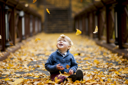 joyful child admired  by the fall of foliage in park