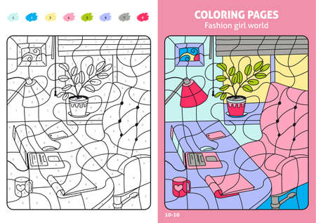 Fashion girl world coloring pages for kids, workplace. Standard-Bild - 103244045