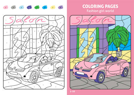 Fashion girl world coloring pages for kids. Illustration