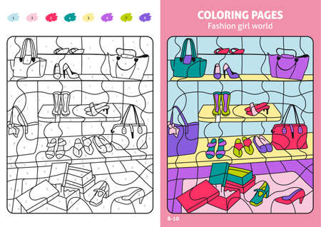Fashion girl world coloring page for kids, shoes. 일러스트