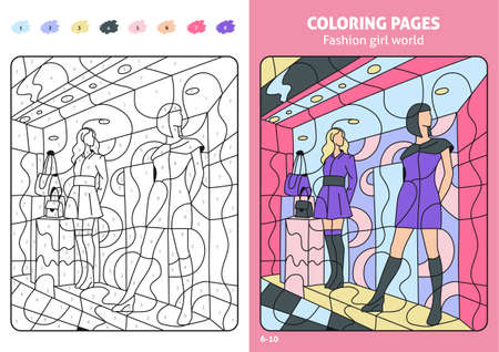 Fashion girl world coloring pages for kids, showcase.