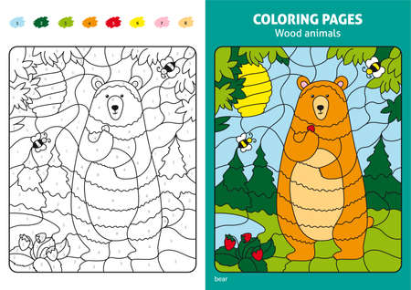 Wood animals coloring page for kids, bear in forest.