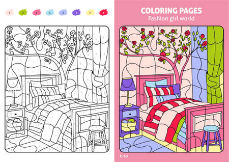 Fashion girl world coloring pages for kids, room.