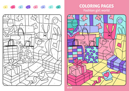 Fashion girl world coloring pages for kids, shopping bags.