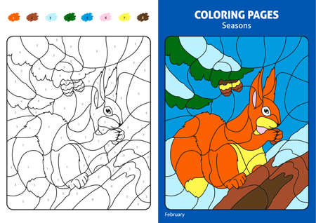 Seasons coloring page for kids. Stock Photo