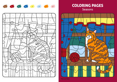 Seasons coloring page for kids, november month.