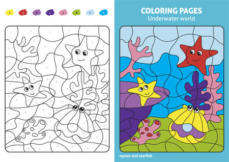 Underwater world coloring page for kids, oyster and starfish.