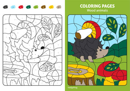 Wood animals coloring page for kids, hedgehog in forest.