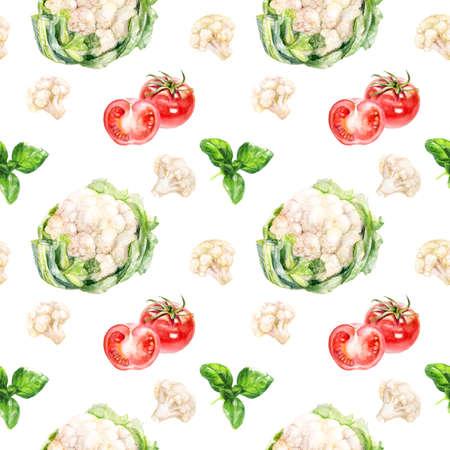 Cauliflowers cabbage hand draw seamless watercolor fabric pattern.