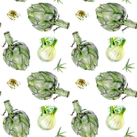 Watercolor artichoke fennel vegetable isolated seamless pattern.