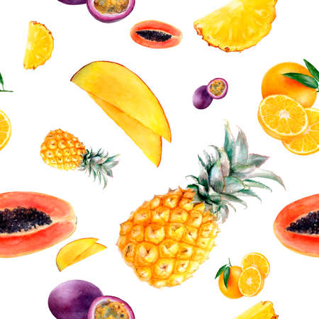 Watercolor hand drawn multi fruit isolated seamless pattern.