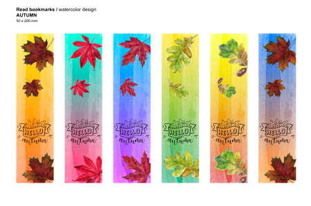 Autumn set printable bookmarks. Watercolor leaf texture illustration.