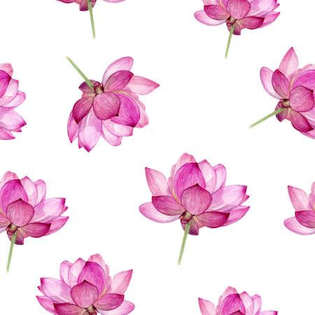 Watercolor hand drawn lotus isolated seamless pattern. Zdjęcie Seryjne