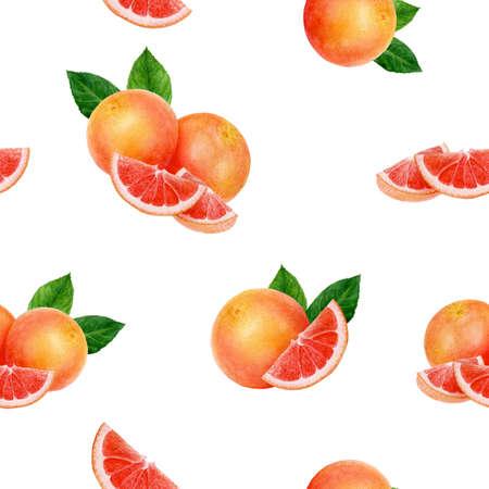 Grapefruit hand drawn watercolor illustration. Seamless pattern. Stok Fotoğraf - 130111096