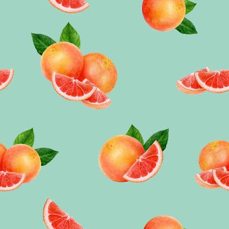 Grapefruit hand drawn watercolor illustration. Seamless pattern. Stok Fotoğraf - 130111094