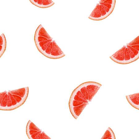 Grapefruit hand drawn watercolor illustration. Seamless pattern.