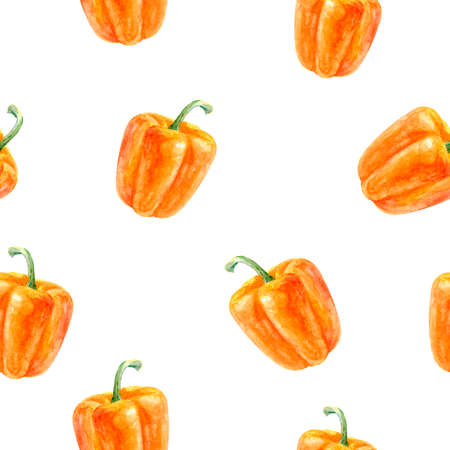 Bell pepper hand drawn watercolor illustration. Seamless pattern. Фото со стока