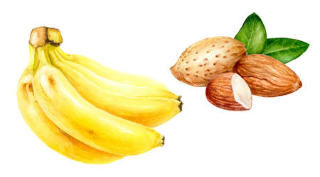 Almond banana set composition watercolor isolated on white background