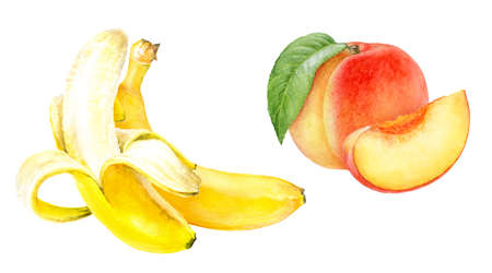 Banana peach set composition watercolor isolated on white background