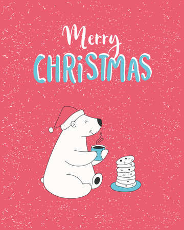 Hand drawn illustration with cute polar bear in Santa hat eats cookies, lettering text Merry Christmas.