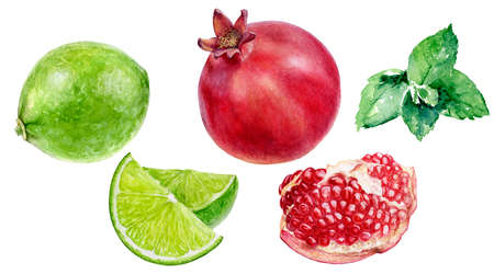 Pomegranate lime mint set watercolor hand drawn illustration isolated on white background.
