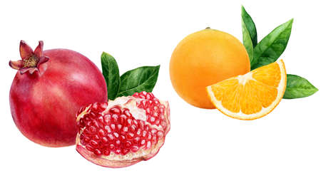 Pomegranate orange fruits set watercolor hand drawn illustration isolated on white background.