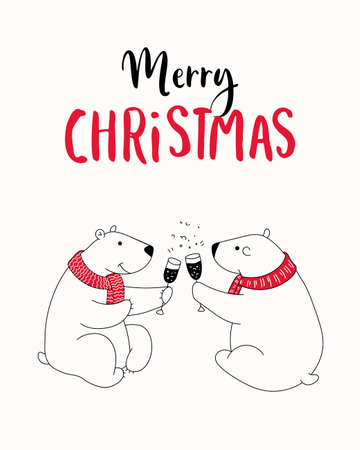 Christmas card print. Hand drawn illustration with cartoon sweet white bear, a glass of champagne, lettering text Merry Christmas. Isolated objects. Design concept greeting card for winter holidays.