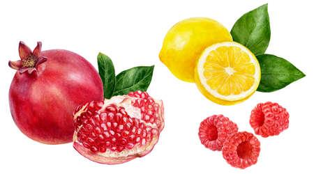 Pomegranate lemon raspberry set watercolor hand drawn illustration isolated on white background. Фото со стока