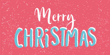 Merry Christmas text hand drawn lettering. Design card template for poster, banner, postcard. Calligraphy Font style.