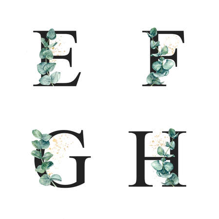 Floral alphabet E, F, G, H with watercolor eucalyptus sprigs and gold splash. Letter collection set for wedding invitations, greeting card, poster, banner and other.  Фото со стока
