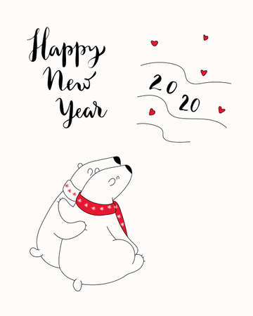 Hand drawn illustration with cute polar bears watching the northern lights, lettering text Happy New Year 2020. Isolated objects. Design concept greeting card for winter holidays. Иллюстрация
