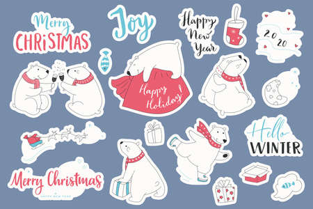 Set of christmas stickers of polar bears. Cartoon collection with cute bears and hand draw lettering Merry Christmas.