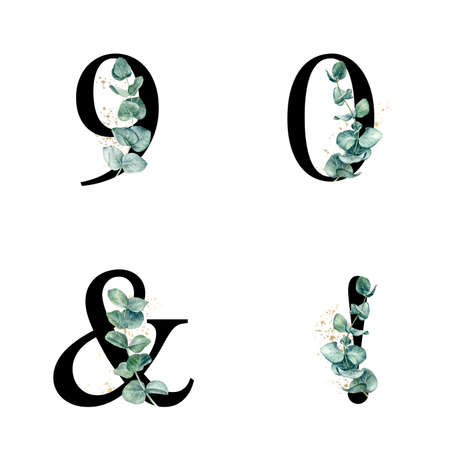 Floral alphabet numbers with watercolor eucalyptus sprigs and gold splash.
