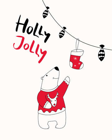 Christmas card print. Hand drawn illustration with cute polar bear reaches for christmas sock, lettering text Holly Jolly. Isolated objects. Design concept greeting card for winter holidays.