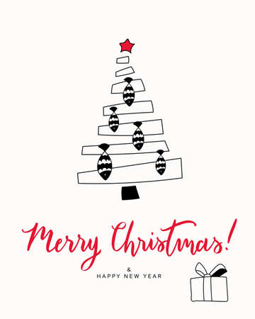 Christmas card print. Hand drawn illustration with cartoon Christmas tree with fish toys, lettering text Merry Christmas. Isolated objects. Design concept greeting card for winter holidays.