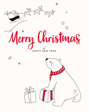Christmas card print. Hand drawn illustration with cute polar bear received a gift from Santa, lettering text Merry Christmas. Isolated objects. Design concept greeting card for winter holidays.