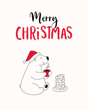 Hand drawn illustration with cute polar bear in Santa hat drinks coffee and eats cookies, lettering text Merry Christmas. Isolated objects. Design concept greeting card for winter holidays. Illustration