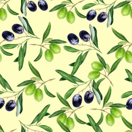 Olives hand drawn watercolor illustration. Seamless pattern.