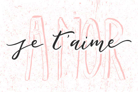 Je Taime. I Love You In French. Handwritten text isolated on white background.
