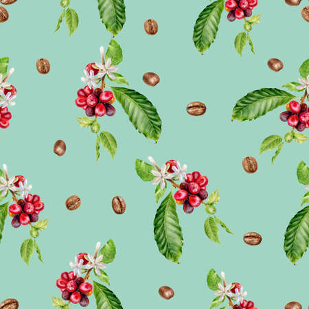 Coffee branch hand drawn watercolor illustration. Seamless pattern.
