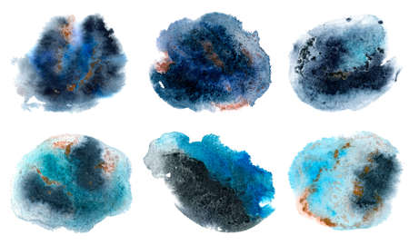 Abstract blue black watercolor stain set. Watercolor hand drawn texture for backgrounds, cards, banners.