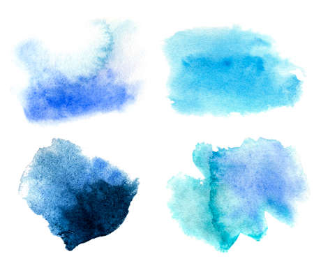 Abstract blue watercolor stain set. Watercolor hand drawn texture for backgrounds, cards, banners.