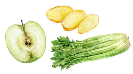 Green apple half celery banch and ginger slices watercolor illustration isolated on white background