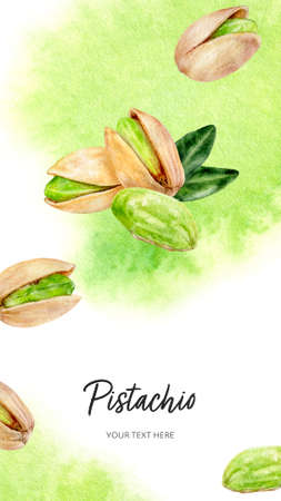 Pistachio vertical card template composition watercolor hand drawn illustration on watercolor splash background. High resolution art
