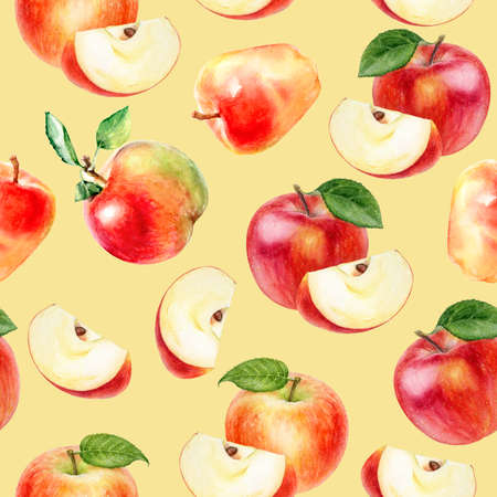 Watercolor seamless pattern apples on a color background.
